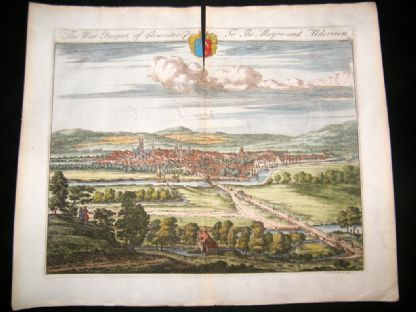 Kip Gloucestershire 1712 Folio Hand Col Print. West Prospect of Gloucester City